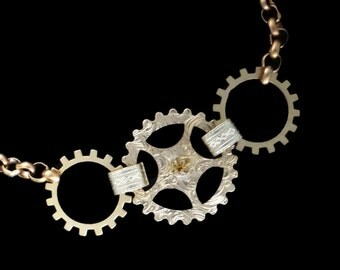 Steampunk Golden Gears Bracelet with Cogs and Gears with Swaovski Rhinestones in Filigree  Brass by Dr Brassy Steampunk