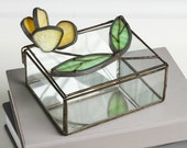 Vintage handmade leaded stained glass box with 3 dimensional yellow flower