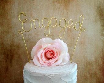ENGAGED Wedding Cake Topper Banner, Engagement Wedding Cake Decoration, Rustic Vineyard Wedding Decoration, Wine Wedding Cake Topper