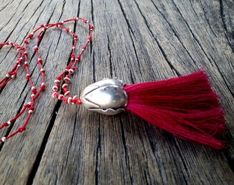 Long Tassel Necklace, Red Boho Tassel Necklace, Sterling Silver Large Flower Bud, Hippie Chic Necklace, Unique Gift for Her, Tassel Jewelry