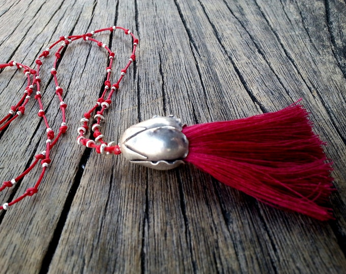 Featured listing image: Long Tassel Necklace, Red Boho Tassel Necklace, Sterling Silver Large Flower Bud, Hippie Chic Necklace, Unique Gift for Her, Tassel Jewelry