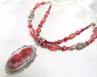 Quartz Agate Druzy Double Strand Necklace in Coral Rose Sunset colors with Freshwater pearls all Sterling Silver
