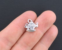 BULK 30 Tea Pot Charms Antique Silver Tone 2 Sided with Little Tea Cup - SC1124