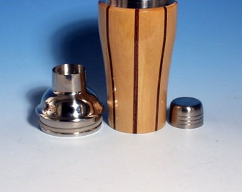 Birch with Walnut Accents Wooden Cocktail or Juice Shaker with Stainless Steel Insert, Cocktail Shaker Lid with Strainer, and Cap