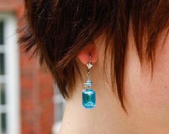 Turquoise Rhinestone Drop Earrings - Vintage Style, Formal, Hollywood