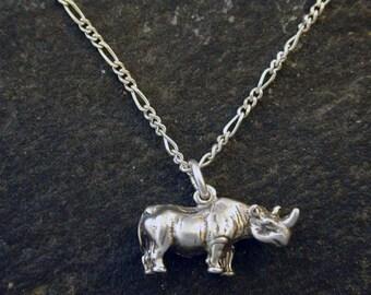 Sterling Silver Rhinocorus Rhino Pendant on Sterling Silver Chain.
