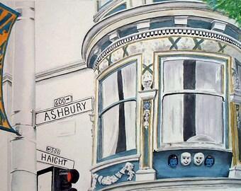 Love the Haight - Print of Originlal San Francisco Haight Ashbury Watercolor