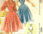 8982 UNCUT 1950's Women's Dress Vintage Sewing Pattern McCall's 8982 Bust 34