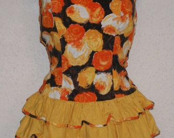 Cutest Vintage 1950s pinup swimsuit stylistic orange roses print and lots of ruffles S Rockailly VLV