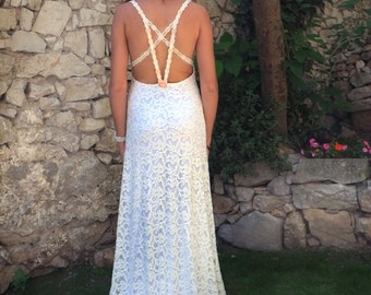 Backless Lace Wedding Dress Low Open Back Bridal Beach Wedding Gown Romantic Country Ethereal Sweetheart Cottage Woodland: JULIA Custom Size