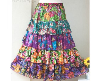 SALE, Bohemian Gypsy Patchwork Ruffle Skirt, Floral Printed Skirt, Free size