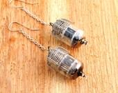 Steampunk Viking Earrings - #6 Long Silver Drops