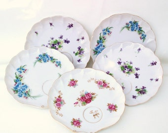 Vintage Dessert Plates, Small Cake Plates, Snack Plate, Casual Dinnerware, Floral Shell Plates with Cup Holder - Lot of 5