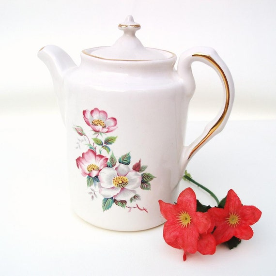 Vintage Floral Teapot House of Webster Coffee Server Ceramic Tea Pot Pink Roses Green Wild Briar Rose
