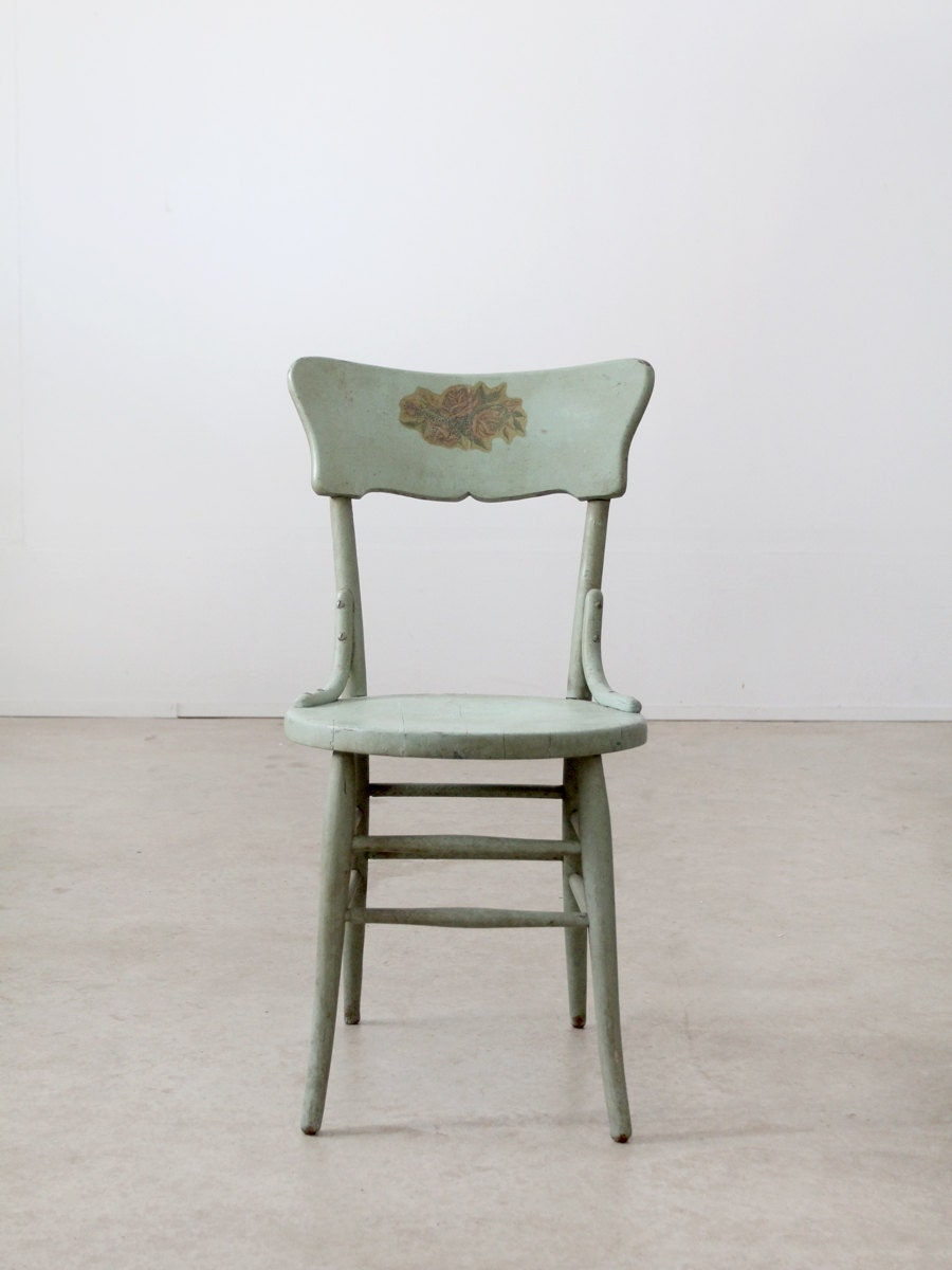 Vintage Painted Wood Chair Primitive Chair