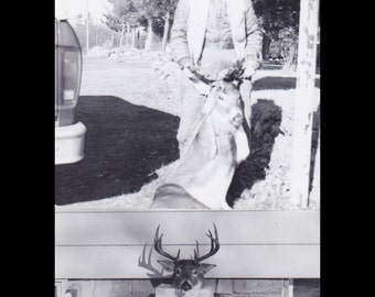 Deerstalker- 1950s Vintage Photographs- SET of 2- Hunter and Kill- Big Stag- Deer Antlers- Gruesome Souvenir- Found Photos- Paper Ephemera