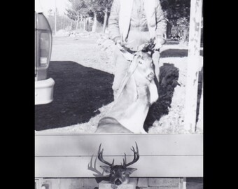 Deerstalker- 1950s Vintage Photographs- SET of 2- Hunter and Kill- Big Stag- Deer Antlers- Gruesome Souvenir- Found Photos- Paper Ephemera