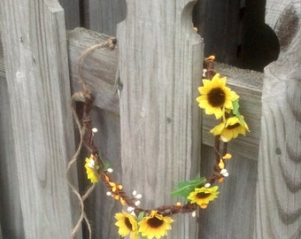 Sunflower headpiece hair wreath yellow Prairie Girl Flower crown Rustic Country Western Headband  twig base bridal party halo Accessories