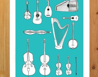 8.5 x 11 String Instrument Print.