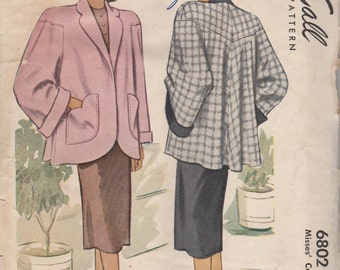 FACTORY FOLDED 1947 Misses' Coat McCall 6802 Size 14 Bust 32