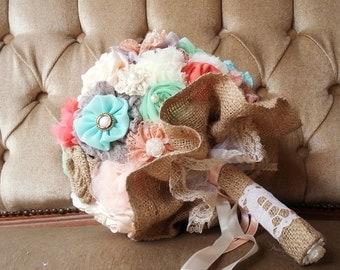 Burlap wedding bouquet , rustic bouquet, shabby chic bouquet