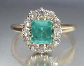 Antique 1 Carat Emerald and Old Mine Diamond Halo Engagement Ring 14K