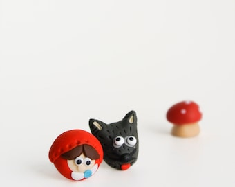 Riding hood and wolf post earrings - quirky gift girls and women - whimsical fairy tale jewelry