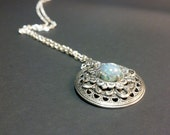 Art Glass Opal Sterling Silver Filigree Vintage Style Necklace