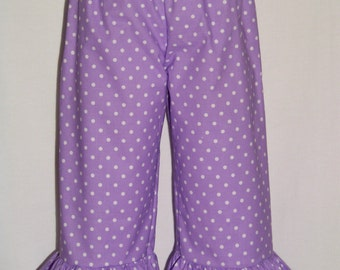 Ruffle Pants / Purple Polka Dots / Boutique Pants / Newborn / Infant / Baby / Girl / Toddler / Custom Boutique Clothing