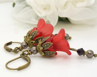 Bright red earrings, Red lucite flower earrings, Long red dangle earrings, Red lily flower earrings, lucite flower jewelry