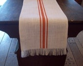 Burlap Table Runner 12 x 72 to 12 x 108 - Hemmed and Frayed with Hand Painted Stripes - Choose Size and Length - Fall Table Runner
