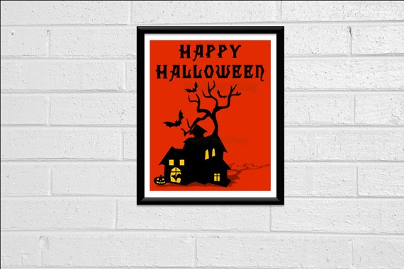 Happy Halloween Typography Print Art Print Wall Decor 8x10 Printable Digital Orange Black Spooky House Tree Bats Cat Silhouette Decoration