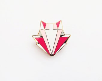 Fox Brooch -  Geometric Head Red Metal pin - Stocking Stuffer