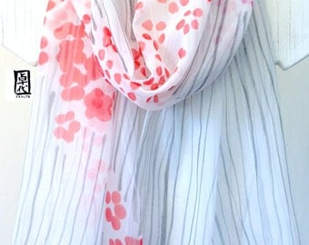Hand Painted Silk Scarf, White Silk Scarf, Red Sumi Wildflower Scarf, Large Japanese Silk Scarf, Gray, Red Scarf, 14x70 in. Made to order.