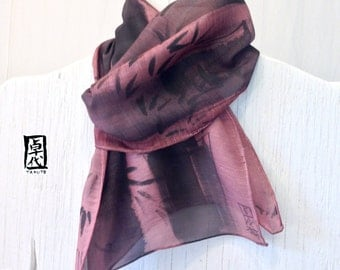 Hand Painted Mens Scarf, Gift for men, Gift Wrapped, Japanese Silk Wool Scarf, Zen Bamboo Mauve Pink Brown Mens Scarf. Approx 11x59 inches.