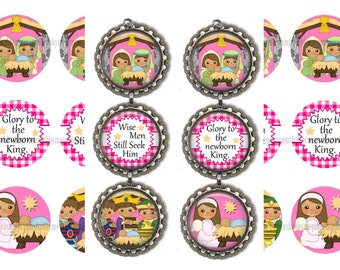 Nativity, Christmas Ornaments, 1 Inch Circle, Bottle Cap Images, Baby Jesus, Digital Collage Sheet (Nativity 1) Printable, Instant Download