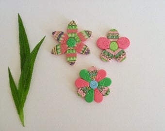 Pink and Green Flower Magnets, polymer clay refrigerator magnets, set of 3