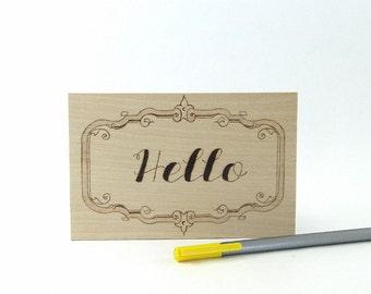 Hello Postcard - Wood Pyrography - Snail Mail Postcard