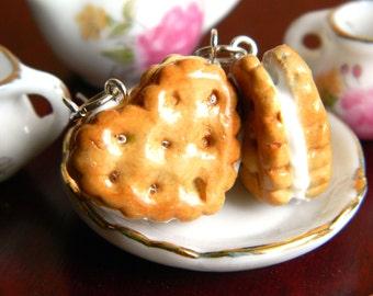 Heart Cookie Earrings , Heart Biscuit Earrings , Heart Biscuit Charm , Clay Cookie Charm , Clay Charm , Cookie Jewelry , Creme Filled Cookie