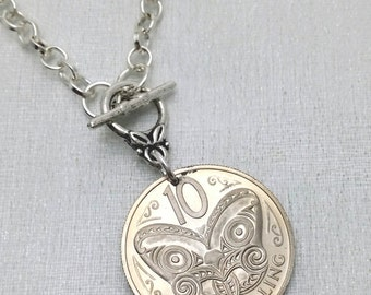 Coin necklace - Vintage New Zealand MAORI mask COIN NECKLACE - mask necklace - butterfly necklace - medallion - Coin jewelry