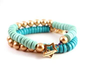 Mint and Gold Bracelet, Gold Star Bracelet, Mint and Gold Wood Bracelet, Mint Bracelet, Color Block Jewelry, Bright Summer Statement Jewelry