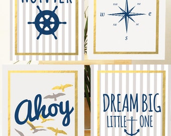 Personalized Prints, First Birthday Gift, Nautical Nursery Prints, Set of 4 Prints, Nautical Baby Shower, Baby Shower Gift, New Mom Gift