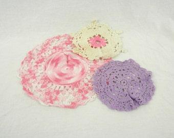 Three Vintage Handmade Crocheted Doilies Purple Pink and White on ThimbledoodlesAttic