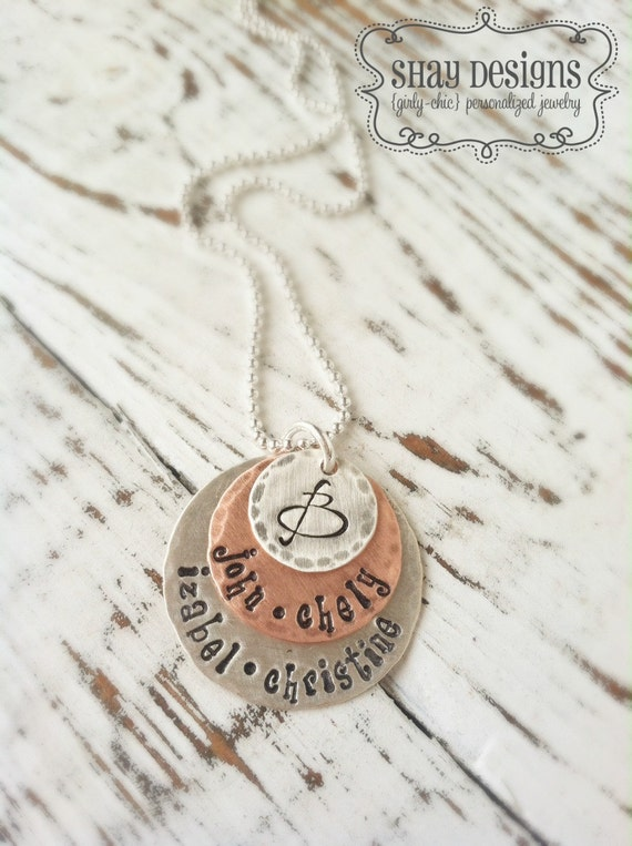 Name Necklace . Family Names . Personalized . Hand Stamped . Mother Necklace . Family Jewelry . Personalized Jewelry