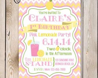 Pink Lemonade Party Invitation Pink Lemonade Birthday Party Printable 5x7 Invitation