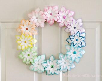 Pastel Ombre Rainbow Decor - Wreath - Rainbow Decor - Paper Flowers