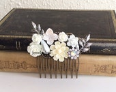 White Wedding Comb Silver Leaf Bridal Hair Accessories Rhinestone Crystal Pearl Headpiece Downton Abbey Style The Great Gatsby Statement JW