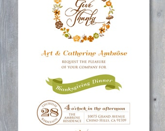 THANKSGIVING Invitation - Printable file. Print or email your own.