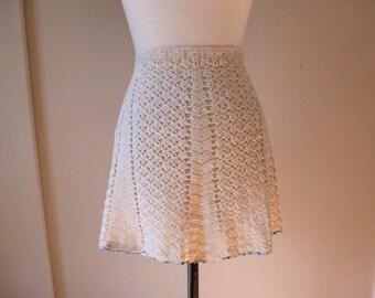 50's Crochet Apron Cream and Light Blue Hand Crocheted