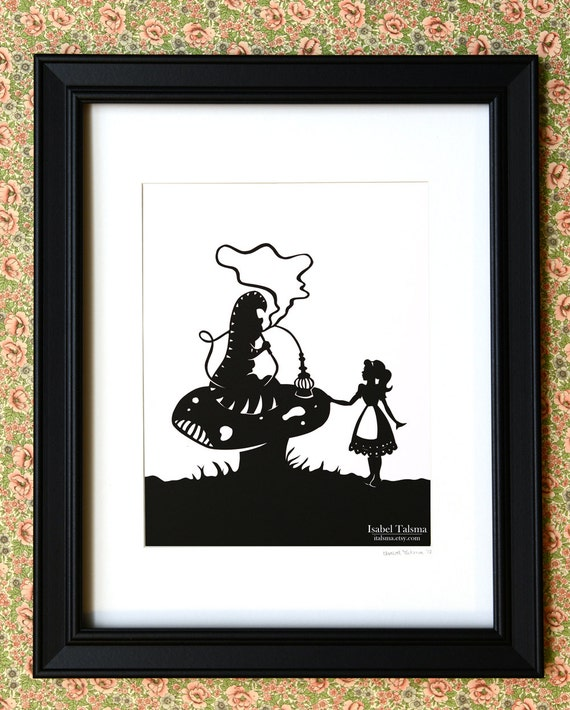 SALE Advice From a Caterpillar - Alice in Wonderland Paper Cut Silhouette Illustration